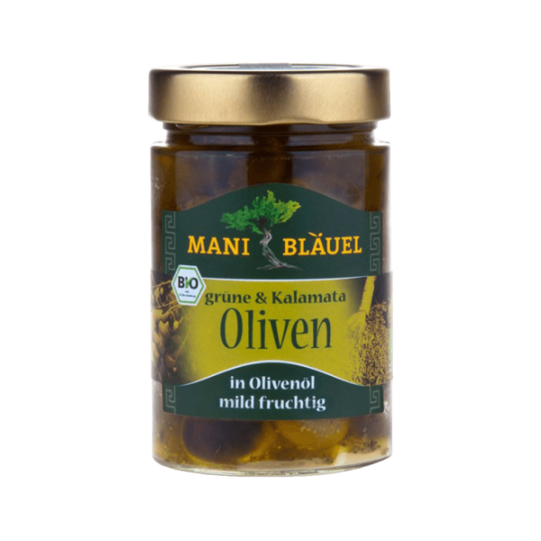 Bio Grüne & Kalamata Oliven, in Olivenöl mit Kräutern