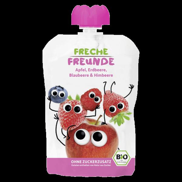 Freche Freunde Bio Apfel, Erdbeere, Blaubeere, Himbeere