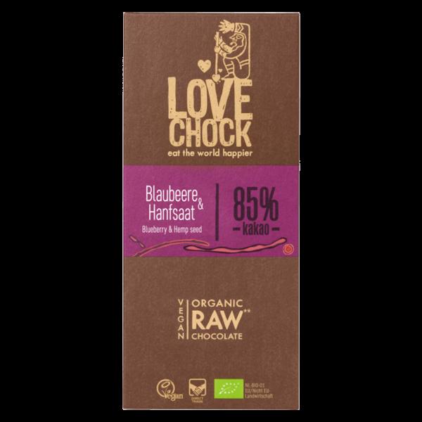Bio Raw Blaubeere-Hanfsaat Schokolade