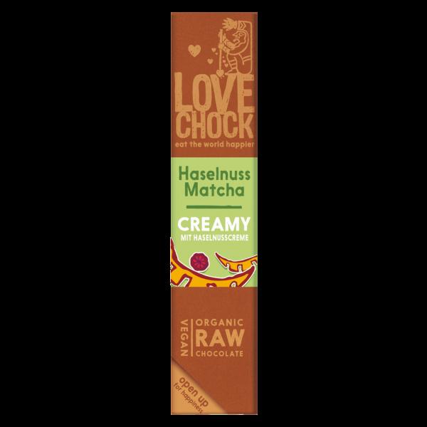 Bio Raw Haselnuss Matcha Creamy Schokoriegel