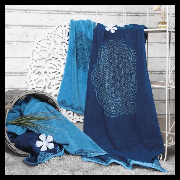 Spirit of Om Badetuch Happy Flower of Life ozeanblau / azur