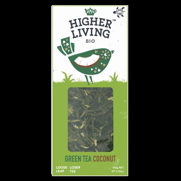 Higher Living Bio Grüntee Kokosnuss, lose
