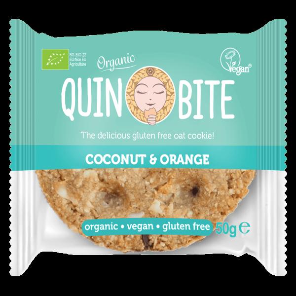 Quin Bite Bio Cookie Coconut Orange, 50g