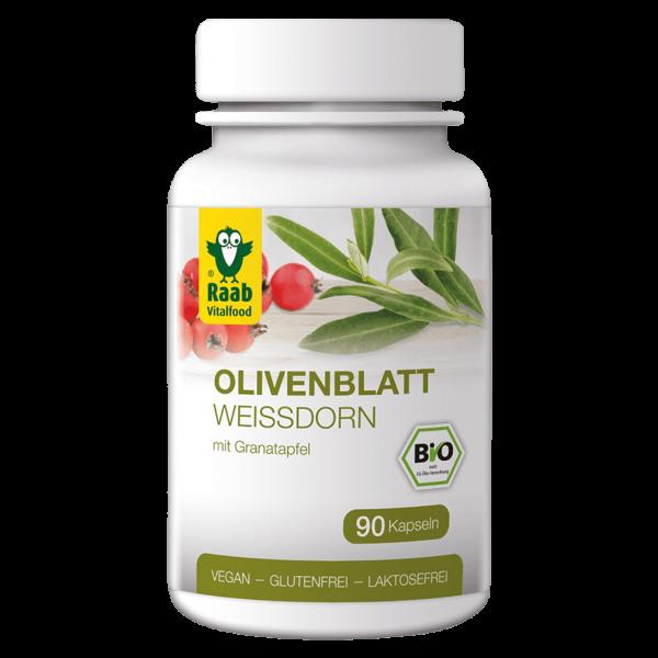Raab Vitalfood Bio Olivenblatt mit Weißdorn (90 Kapseln)
