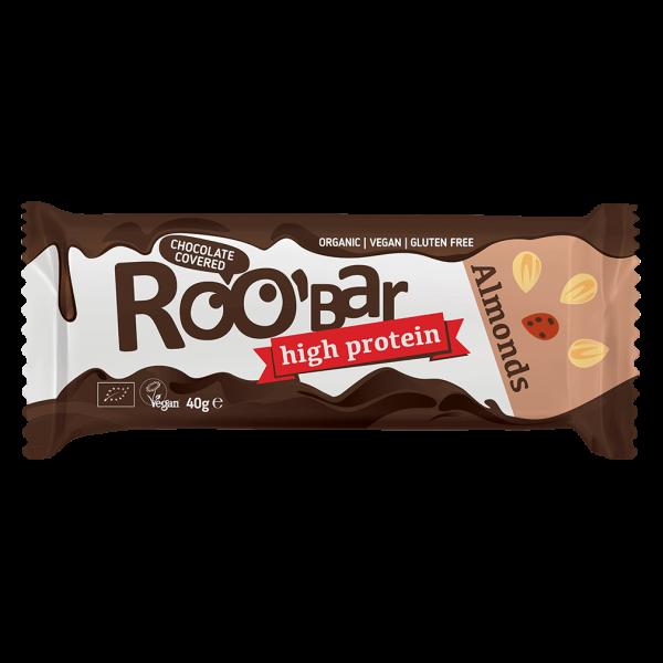 Roobar Bio Proteinriegel mit Mandeln, umhüllt mit Schokolade