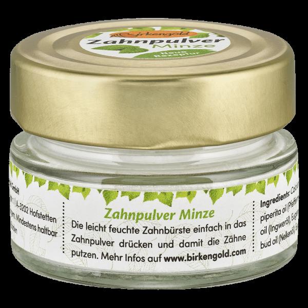 Birkengold Zahnpulver Minze im Glas, 30 gr
