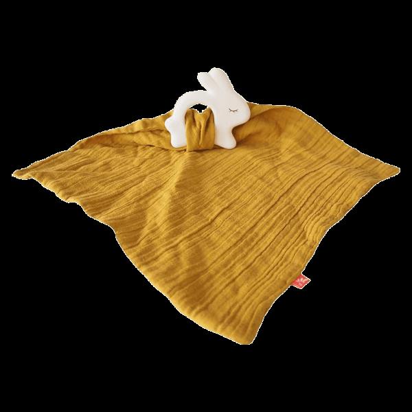 kikadu Kautschuk-Hase mit Schmusetuch