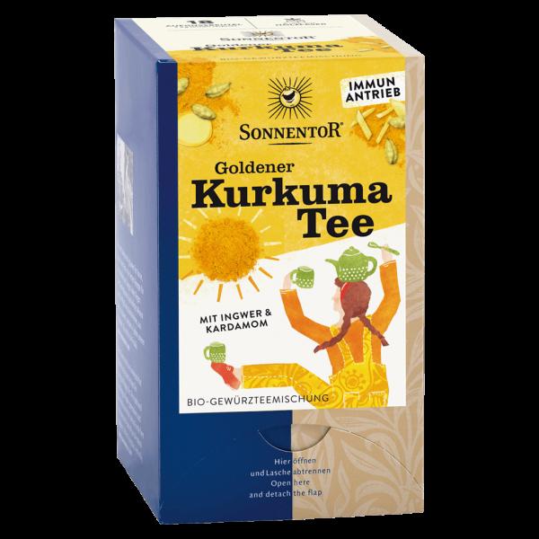 Bio Goldener Kurkuma-Tee mit Ingwer und Kardamom, 18 Btl