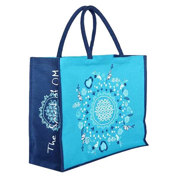 Spirit of Om Jute-Tasche türkis-blau