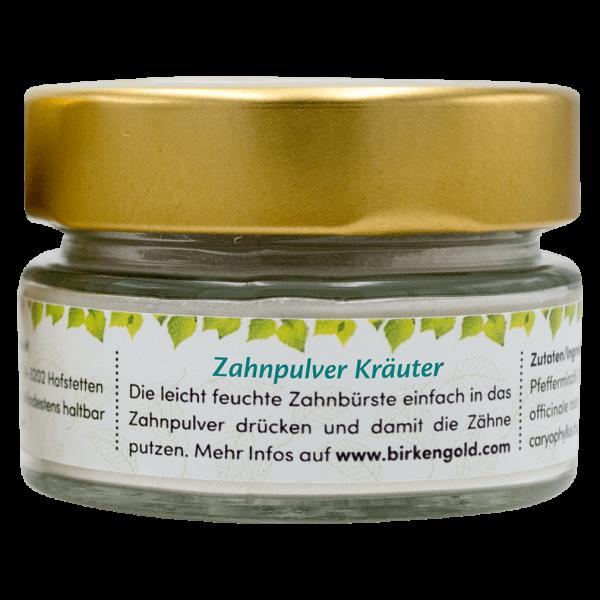 Birkengold Zahnpulver Kräuter im Glas, 30 gr