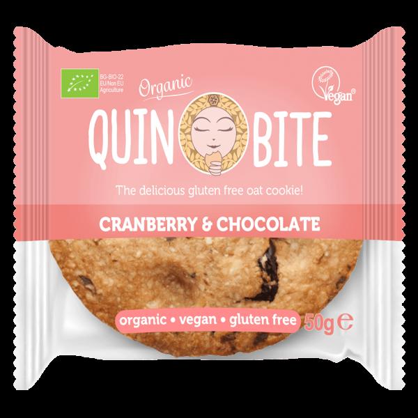 Quin Bite Bio Cookie Cranberry Chocolate, 50g