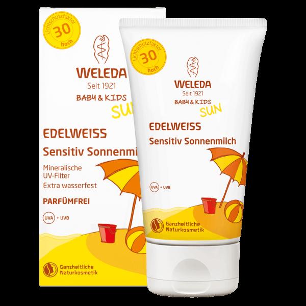Weleda Edelweiss Sonnenmilch Sensitiv LSF 30, 150 ml Tube