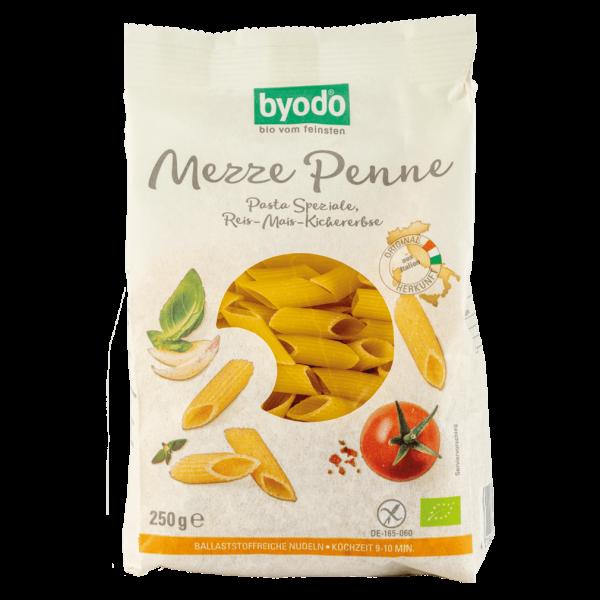 byodo Bio Mezze Penne Reis-Mais-Kichererbse, 250 gr Packung