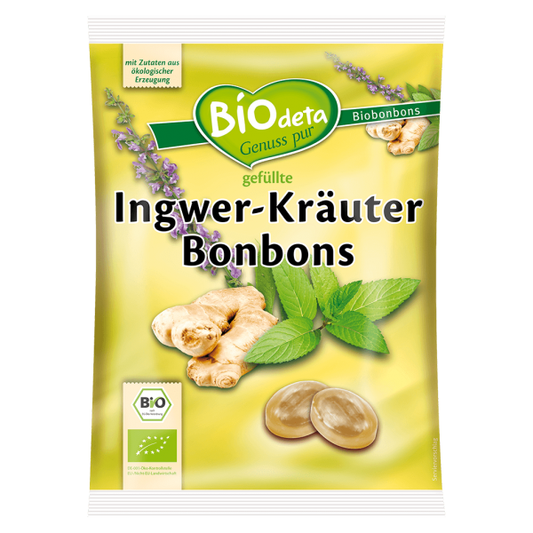 Biodeta Bio Ingwer-Kräuter Bonbons
