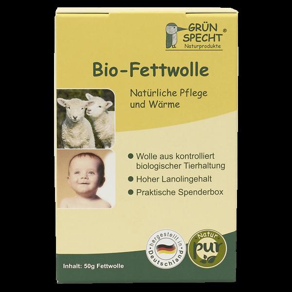 Grünspecht Bio-Fettwolle, 50 gr Packung