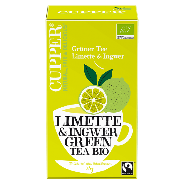 Cupper Bio Grüner Tee Limette & Ingwer, 35g