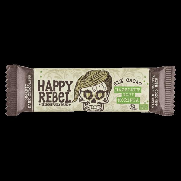 Happy Rebel Bio Schokoriegel Hazelnut Goji Moringa