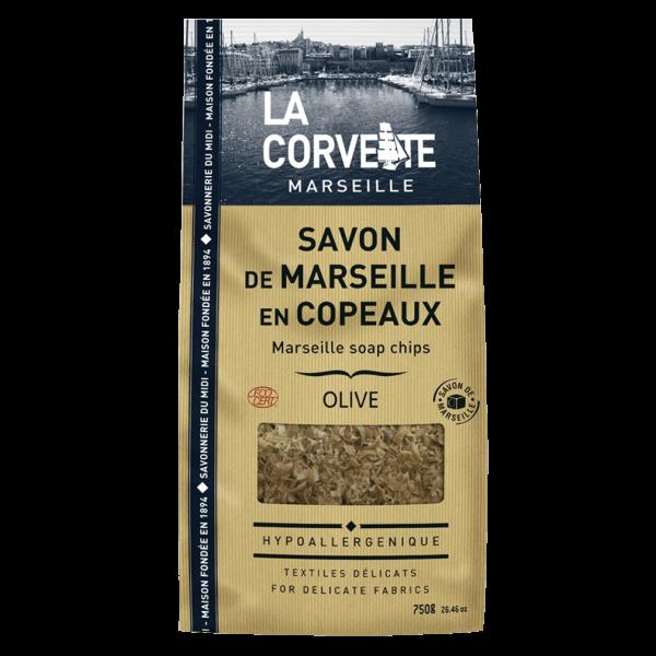La Corvette Savon de Marseille Olive Seifenflocken im Beutel, 750g
