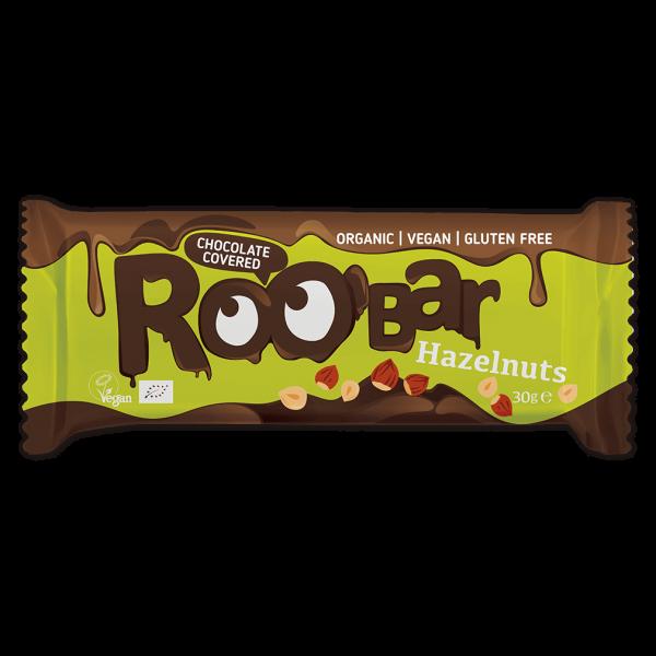 Roobar Bio Haselnussriegel umhüllt mit Schokolade
