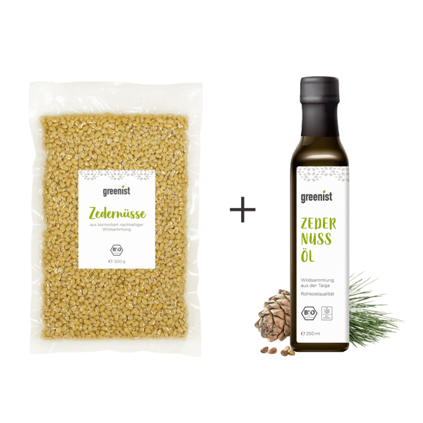 greenist Bio Zedernüsse + Bio Zedernöl aus Sibirien