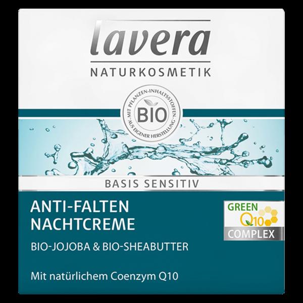 Lavera Naturkosmetik basis sensitiv Anti-Falten Nachtcreme Q10, 50 ml Tiegel