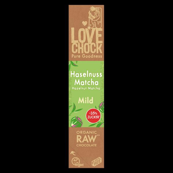 LOVECHOCK Bio Raw Haselnuss Matcha mild Schokoriegel