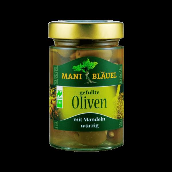 Bio Oliven gefüllt mit Mandeln in Lake